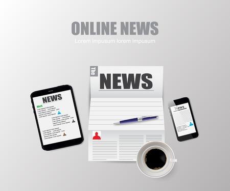 online news: Online news technology vector illustration Illustration