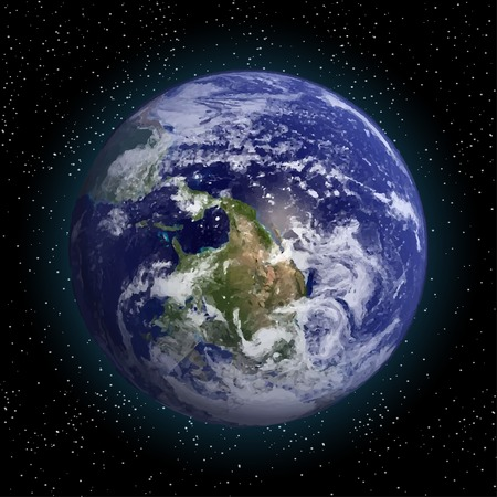 Earth in space vector.Elements of this vector furnished Çizim