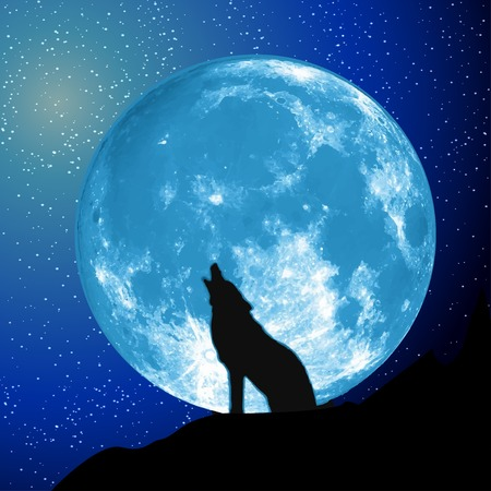 Moon view from the ground. Howling Wolf, Elements of this vector furnished by NASA Vector