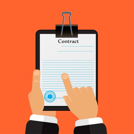 signing papers: Check the contract his hands in a flat style vector Illustration