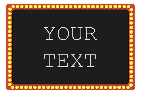Glowing cinema signboard with light bulbs,vector illustration