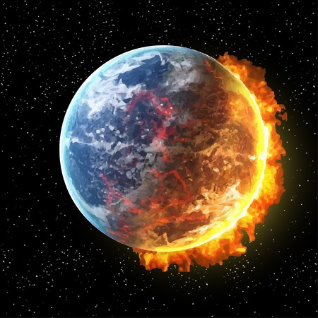 meteor shower: View of the earth in fire from space with fire vector illustration