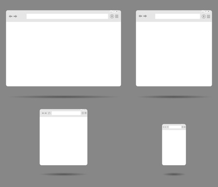 web browser: Set of simple browser windows on a gray background vector