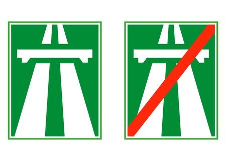 end of road: Highway sign, motorway end vector illustration