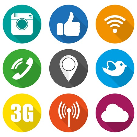 mobile phone icon: Icons for social networking vector illustration in flat