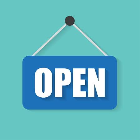 letrero: Abrir muestra de la puerta ilustración vectorial diseño plano