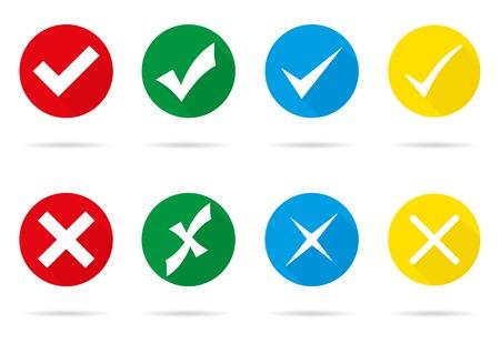 Ensemble de différentes marques de contrôle de vecteur et de croix Vecteurs