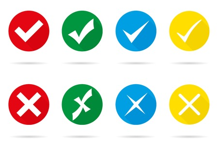 Set of different vector check marks and crosses Ilustração