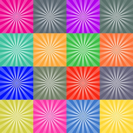 Set of retro ray backgrounds colorful vector illustration Ilustração