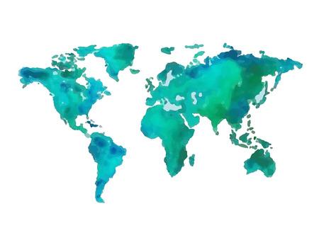 global map: Earth a hand-drawn vector illustration gouache
