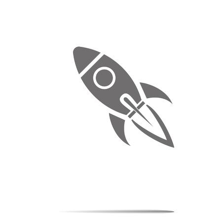 rocket ship: Start Up Symbol Space Rocket Ship Sky on white background