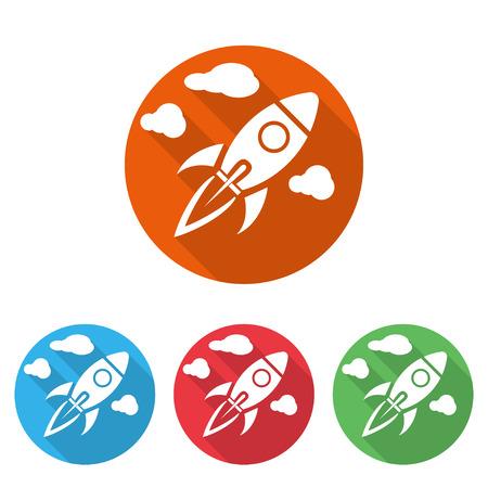 rocketship: Start Up Symbols Space Rocket Ship Sky on colored background