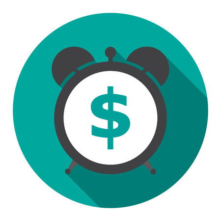 money time: Alarm clock is showing a money time vector illustration Illustration