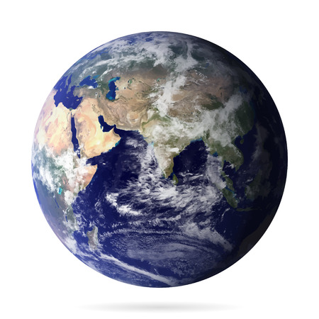 blue earth: Earth realistic with shadow vector eps10