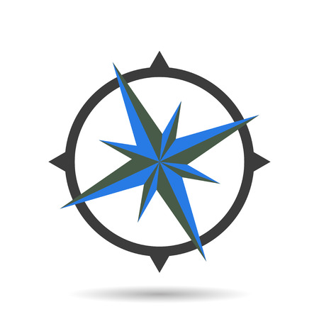 wind rose: Compass icon with shadow Illustration