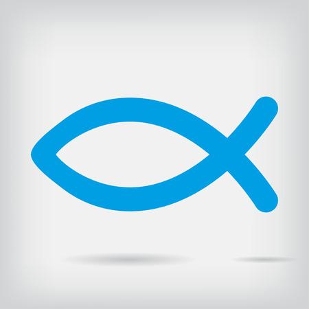 pez cristiano: Icono de los pescados Religión con la sombra Vectores