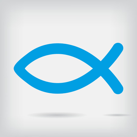 ictus: Religion fish icon with shadow