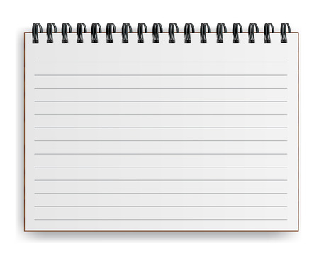 Blank realistic spiral notebook with shadow