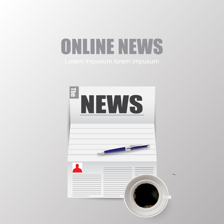 online news: Online news with shadow on grey background
