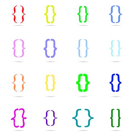 bracket: Curly bracket icon  colored set