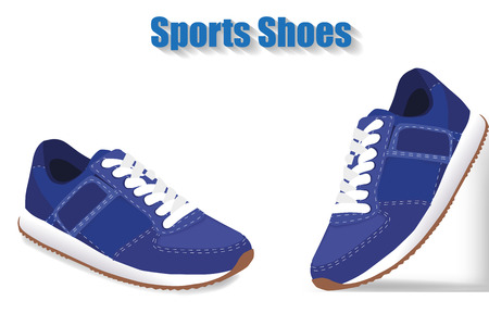 blue shoes: Sport shoes on white background