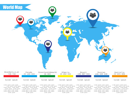 flags of the world: Colorful modern infographic world map  Vector illustrator
