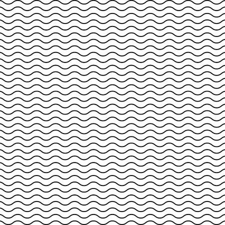 黒シームレスな波状のライン パターン  イラスト・ベクター素材