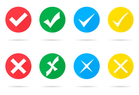 Set of different vector check marks and crosses Vectores