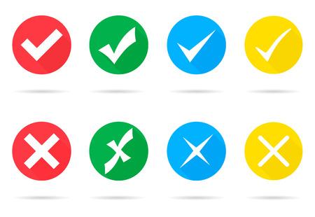Set van verschillende vector vinkjes en kruisjes Stock Illustratie