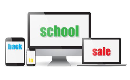desktops: Set realistic Monitors laptop tablet and phone sale vector illustration
