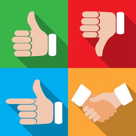 gestures: set of different hand gestures Illustration