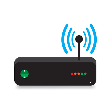 modem: Router, modem connection with shadow Illustration