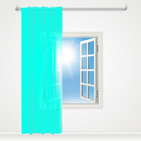 ventanas abiertas: Ventana cortinas y elegante