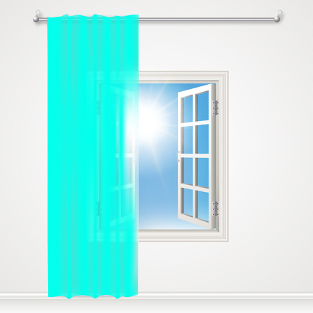 windows home: Window curtains and stylish Illustration