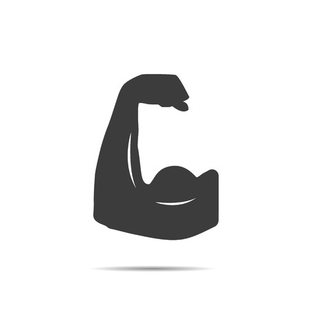 muscle people: Muscle icon with shadow Illustration