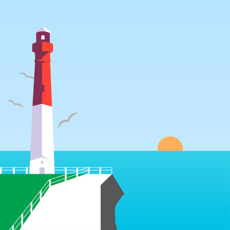 sun illustration: Lighthouse in sea, sun illustration