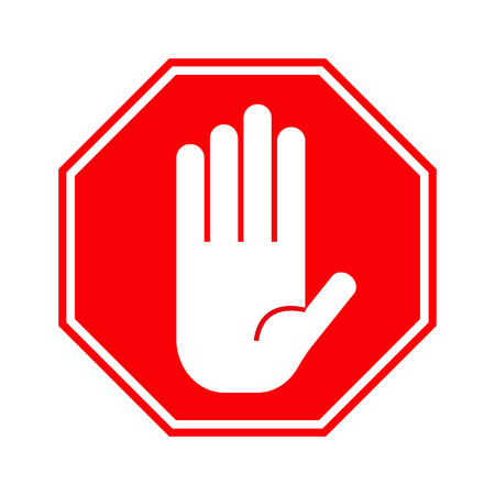 restrictive: Red stop hand sign