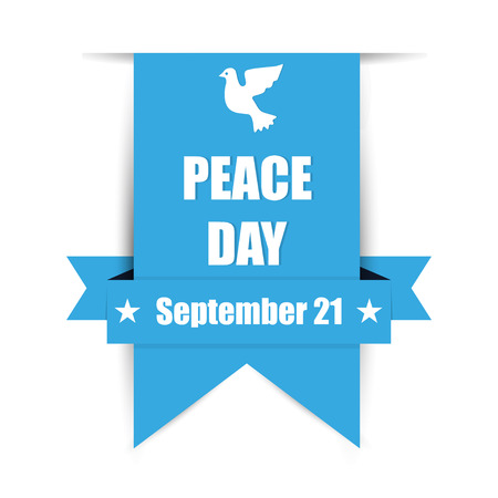 International Peace Day with dove on blue banner