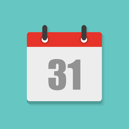 31th: calendar icon with the date 31th in flat style Illustration
