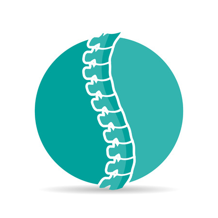 massage symbol: Spine diagnostics logo with shadow