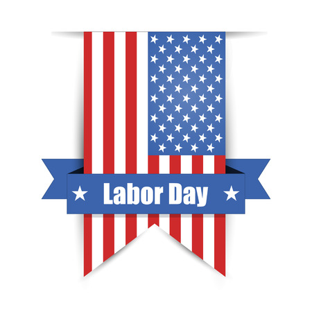 Flag of America to Labor Day label Illustration