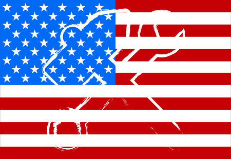 american flag: American flag with a hammer and the key