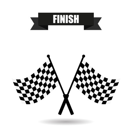 racing checkered flag crossed: Checkered Flag finish with shadow