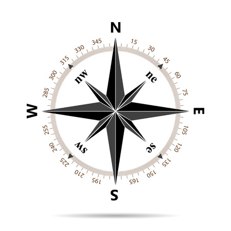 Compass icon in flat design 矢量图像