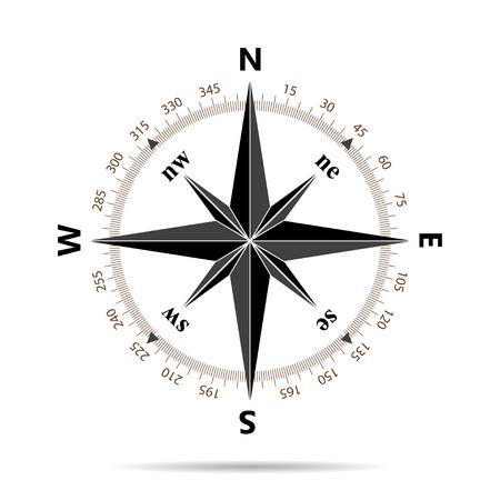 brujula: Icono de brújula en diseño plano