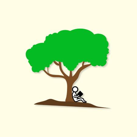 silueta niño: La gente que lee cerca de un árbol