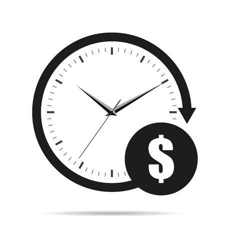 money time: Time is money icon with shadow