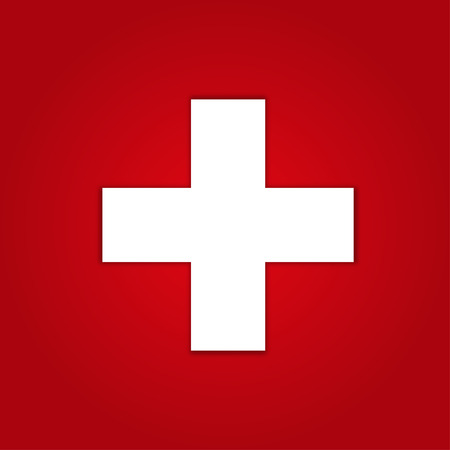 Icono de los primeros auxilios sobre fondo rojo Foto de archivo - 44147633