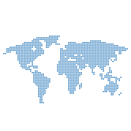 doted: World map with blue circles Illustration