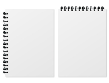Blank realistic spiral notepad on white background